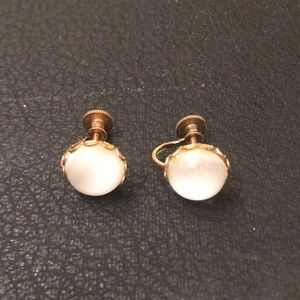 Antique MoonStone Retro Stud Screw Back Earrings